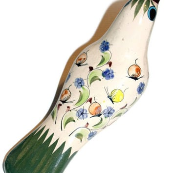 Vintage Mexican Pottery Turtledove Painted Bird Signed CAT