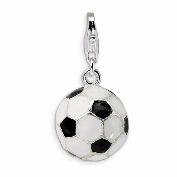 Sterling Silver 3-D Enameled Soccer Ball w/Lobster Claw Clasp Charm