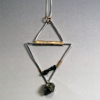 Geometric Jewelry: Triangles Pendant Necklace in mixed metal with rough, raw diamonds and pyrite