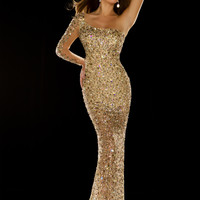 One Sleeve Mac Duggal Nude Long Floor Length Pageant Gown 50080P