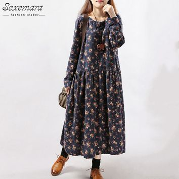2017 New Women Dresses Autumn Winter Vintage Print Casual Long Sleeve Retro Cotton Maxi Robe Tunic Floral Big Plus Size Dress