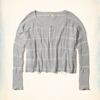Girls Distressed Oversized Henley Sweater | Girls Tops | HollisterCo.com