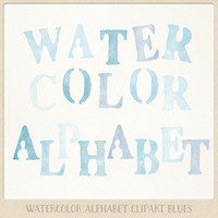 Watercolor alphabet clipart (104 pc) blue aqua light blue lavender. hand painted clip art letters for design blogs cards printables wall art