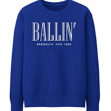 BALLIN PARIS NEW YORK BROKLYN Unisex Crewneck Sweatshirt Top Funny - Blue