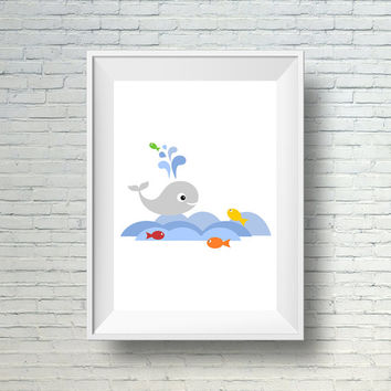 Whale Nursery Decor, Sea Nursery Wall Art Print,  Under The Sea Kids Print, Fish and Gray Whale Nursery Art,  Ocean Art, Digital Nursery Art