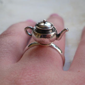 Alice in Wonderland Tea Pot Adjustable Ring, Tea party, Silver, Teapot