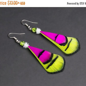 SALE Hot pink & neon lime green  feather earrings with crystal, dangle earring, natural feather earring, festival earring, boho earring, fol