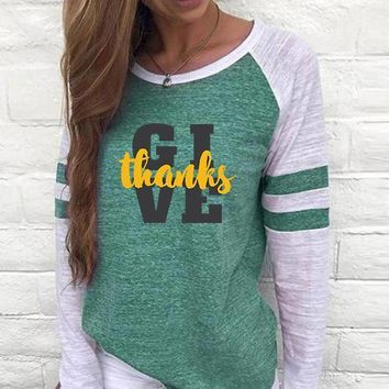 Give Thanks Women's Baseball Jersey Christian Semi-Fitted Long Sleeve Shirt