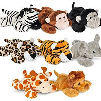 Wildlife Tree Mini Small Stuffed Animals Bundle of Zoo Animal Toys or Jungle Safari Party Favors for Kids (Pack of 8)