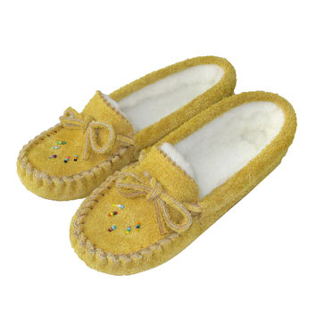 Junior's Soft-Sole Moosehide Suede Moccasins with Beading