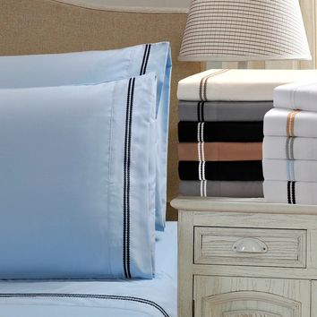 Wrinkle Resistant Embroidered 2-Line Sheet Set in Gift Box   Overstock.com Shopping - The Best Deals on Sheets