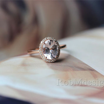 Halo Diamond Oval Morganite Ring 14k Rose Gold Engagement Ring Wedding Ring   Gemstone Engagement Ring