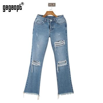 Autumn Winter New Hollow Out Hole Pleated Women Jeans Washed Casual Skinny Street wear Hip Hop Pants
