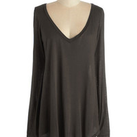 ModCloth Mid-length Long Sleeve Casual You Need Top in Brown