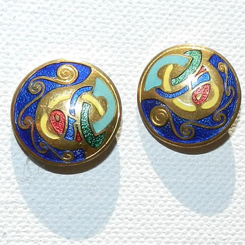 GIFTSALE--) Tara Ware Irish Earrings, Celtic Enamel Bird Animals Motif, Book of Kell Inspired, Made In Ireland, 50s Vintage, Vintage Jewelry