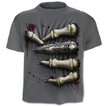 3D Skull T-shirts Men Bloody Skeleton Casual Breathable