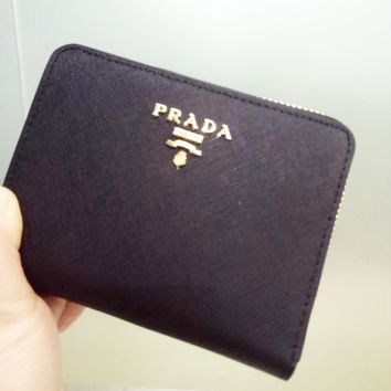 PRADA Fashion Zipper bag Women Leather Purse Wallet Black G-YJBD-2H