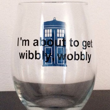 Doctor Who inspired stemless wine glass. Wibbly Wobbly TARDIS glass.