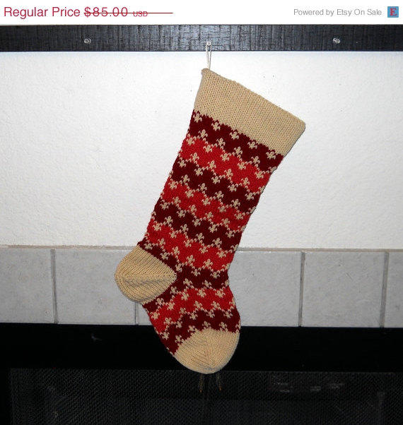 Knit Pattern For Striped Christmas Stocking : Hand Knit Christmas Stocking, Striped from CustomBearHugs Knit