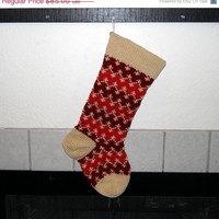 Hand Knit Christmas Stocking, Striped Stocking in Red and off White, traditional stocking, personalized stocking