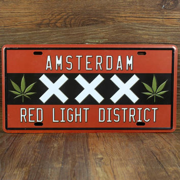 """SYF-A090 Retro license Car plates letter """" RED LIGHT DISTRICT """" vintage metal tin signs garage painting plaque Sticker 15x30cm"""
