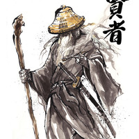 8x10 PRINT Lord of the Rings Gandalf Samurai Sumi Japanese Calligraphy