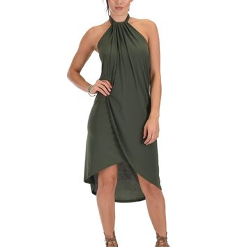Lyss Loo Wrap Star Halter Olive Midi Wrap Dress