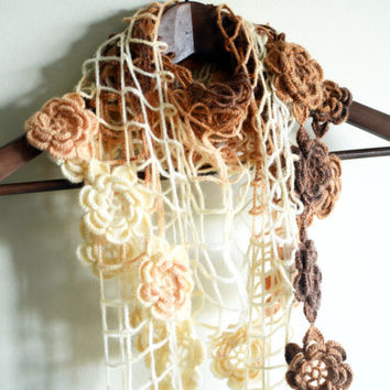 autumn roses - soft triangle shawl with roses - mottled ivory brown peach beige