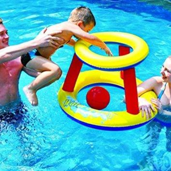 By PoolCentral 29 inch  Red Yellow and Blue Inflatable Swimming Pool Water Sports Basketball Game Set