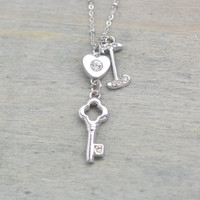 silver key necklace, sweet 16, skeleton key, key to my heart, little key necklace, tiny heart key, bridesmaid, christmas, personalized gift