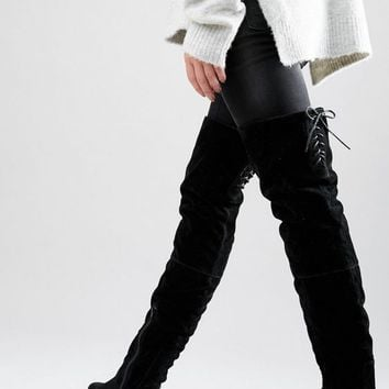 Daisy Street Lace Back Black Over The Knee Boots at asos.com