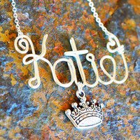 Princess pageant queen crown name necklace by QueenCityConceptions