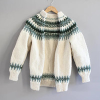 Hand knitted Cowichan Chunky Knit Cardigan Cream Green Nordic Norwegian Style Cardigan Thick Pure Wool Sweater Vintage Size SS #K061A
