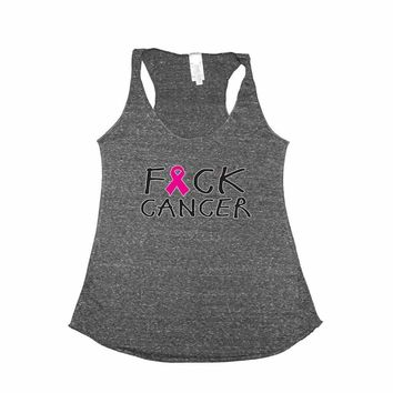 Women's F Cancer Breast Cancer Awareness Tri Blend Tank CHARCOAL