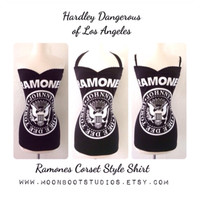 Sexy Black RAMONES Shirt, Custom Upcycled Pin Up Rock n Roll Strapless, Halter or Strappy Tank Top, Punk Rockabilly Pinup