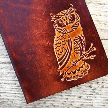 READY TO SHIP - Owl Leather Passport Cover - Wildlife Passport Holder - Leather Passport Cover - Travel Gift Case Holder - Hoot Wanderlust