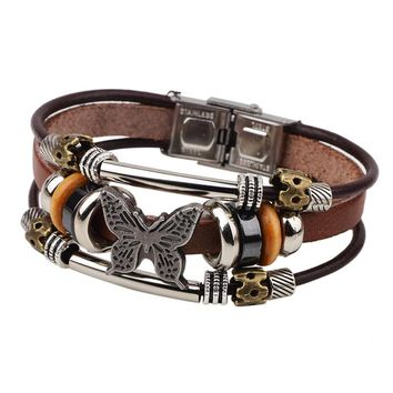 Fashion Leather Bracelet Alloy Charm Butterfly Bracelet With Stainless Steel Buckle Jewelry
