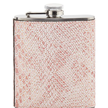 Neiman Marcus Boxed Snake-Embossed Flask, Coral