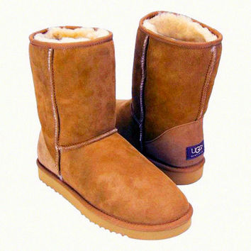 """UGG"" Women Fashion Wool Snow Boots Calfskin Shoes simple Chestnut"
