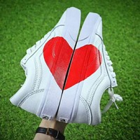 VANS Old Skool Fashion Women Men Casual Loving Heart Sport Shoe Sneakers White I-CSXY