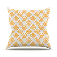 "Apple Kaur Designs ""Sunburst"" Orange Gray Outdoor Throw Pillow"