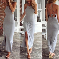Sexy Backless Women Bandage Dress Beach Bodycon Dress = 5657564737