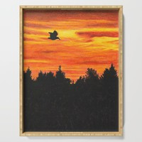 Sunset sky with bird Serving Tray by savousepate