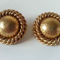 BUTLER AND WILSON Vintage Gilt Rope Button Earrings.British Designer Gold Tone Clip on earrings.