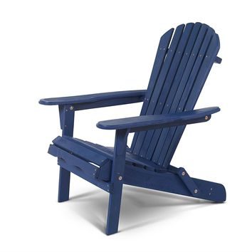 Patio Outdoor Folding Wood Adirondack Chair in Navy Blue Fir Wood