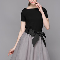 Short Sleeve Top with Bow Belted Mesh A-Line Mini Skater Skirt Set