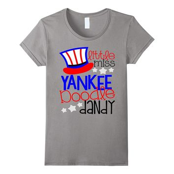 July 4th Shirt USA America Little Miss Yankee Doodle Dandy