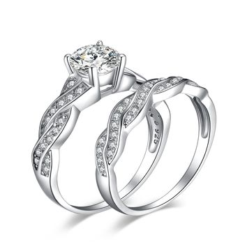 Jewelry 1.5ct Infinity Cubic Zirconia Anniversary Promise Wedding Band Engagement Ring Bridal Sets 925 Sterling Silver