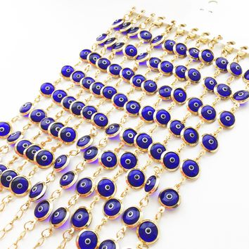 Evil eye bracelet, link chain evil eye bracelet, blue evil eye beads, gold chain bracelet