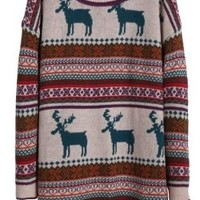 Light Khaki Deer Fair Isle Christmas Pattern Oversized Sweater